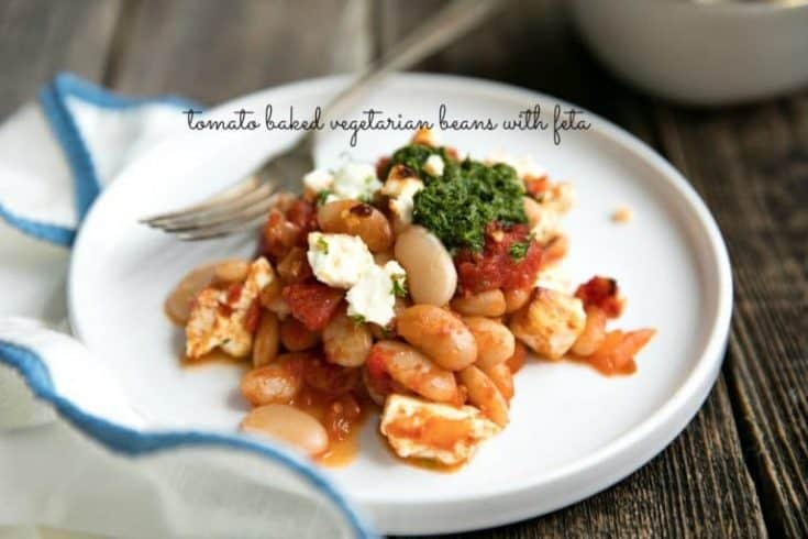Tomato Baked Vegetarian Beans with Tangy Feta Cheese.
