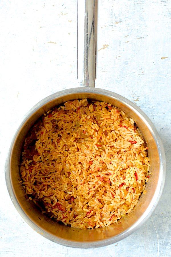 Overhead shot of cooked Spanish rice in saucepan