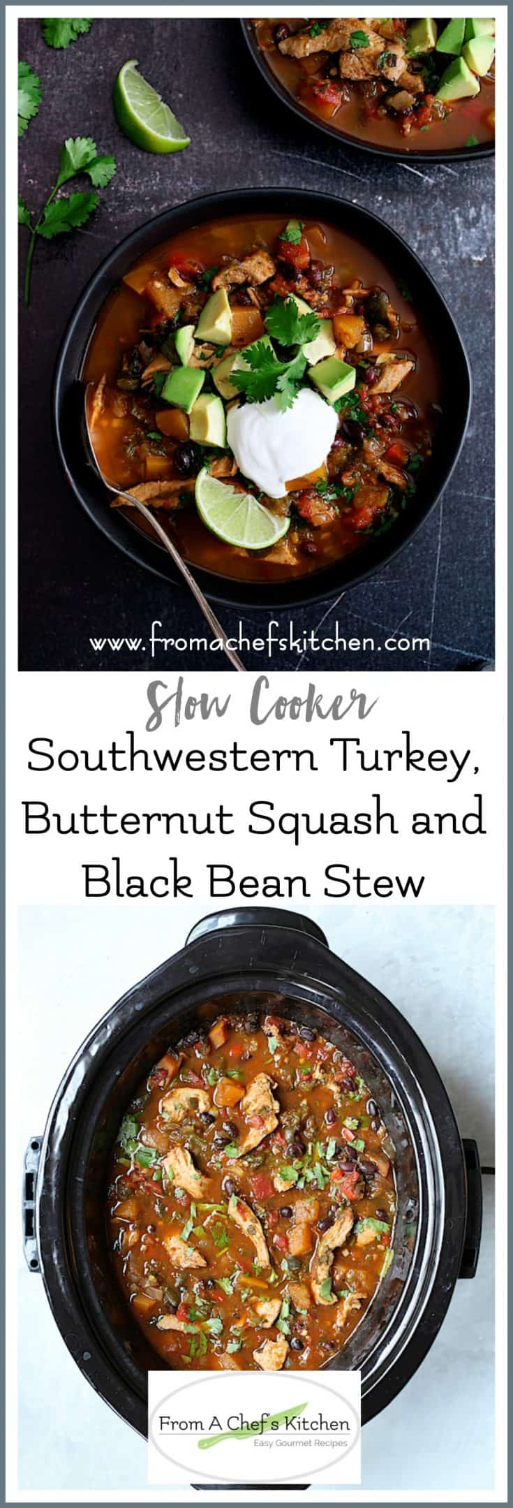 Slow Cooker Southwestern Turkey, Butternut Squash and Black Bean Stew is hearty, flavorful, easy and best of all healthy! #slowcooker #crockpot #southwesternfood #turkey #stew #butternutsquash #blackbeans