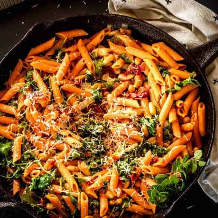 Instant Pot Cannelini Beans with Penne, Baby Kale and Slow Roasted Tomatoes
