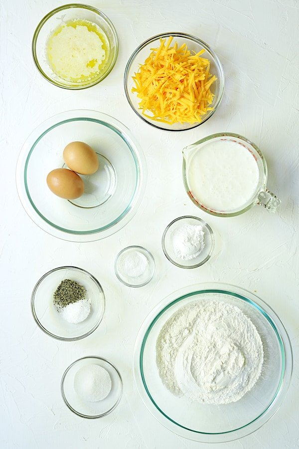 Overhead shot of the ingredients for waffles