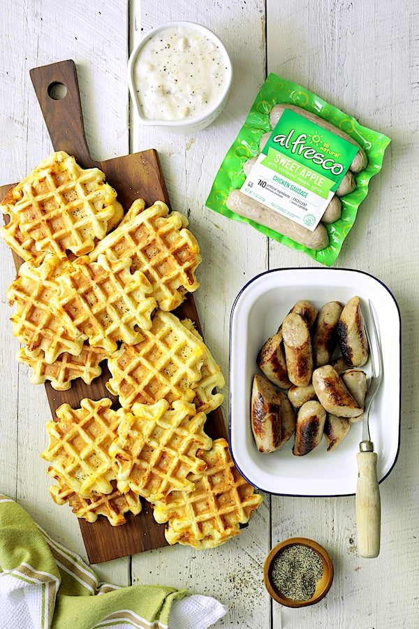 Chicken Sausage and Gravy with Buttermilk - Cheddar Waffles - Overhead shot of finished components of dish