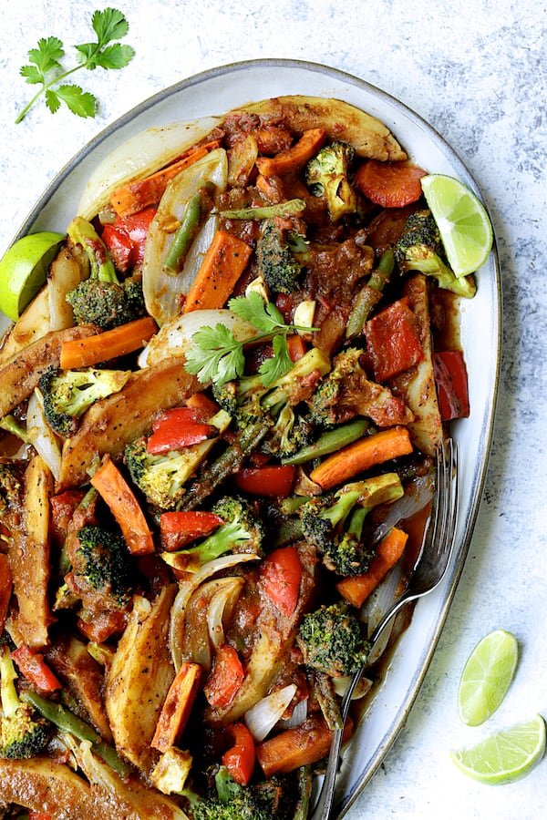 Curried Roast Vegetables - Overhead close-up shot of finished vegetables on oval platter