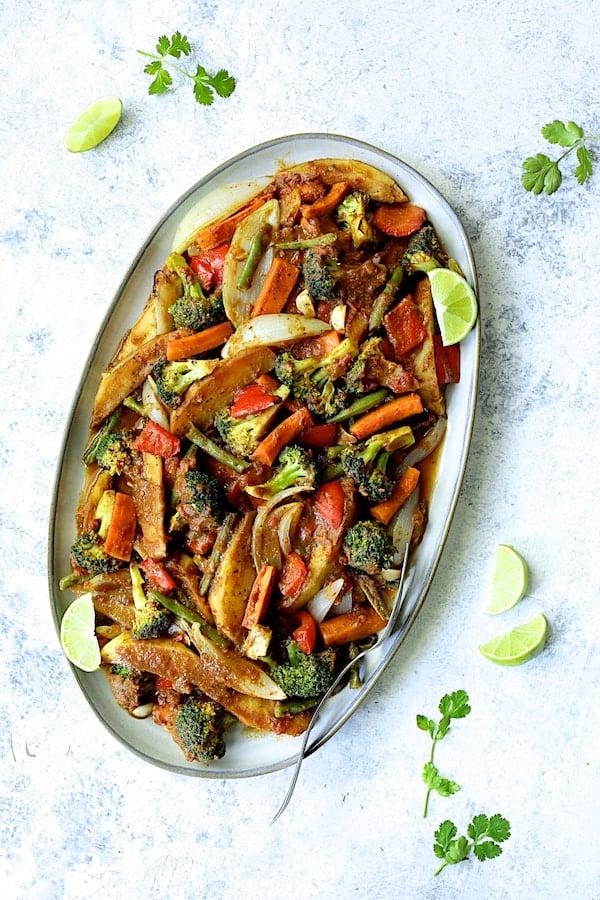 Curried Roast Vegetables - Overhead shot of finished vegetables on oval platter