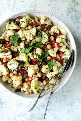 Sicilian Cauliflower Salad - Overhead shot of salad with serving utensils