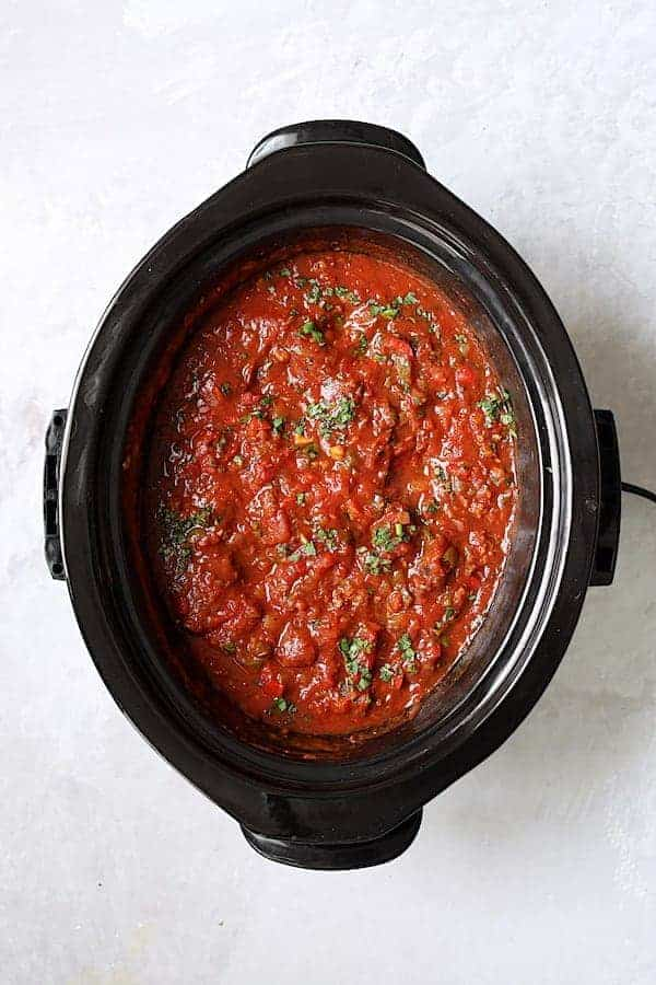 Slow-Cooker Spicy Sausage and Pepper Ragu - Overhead shot of finished sauce in slow-cooker