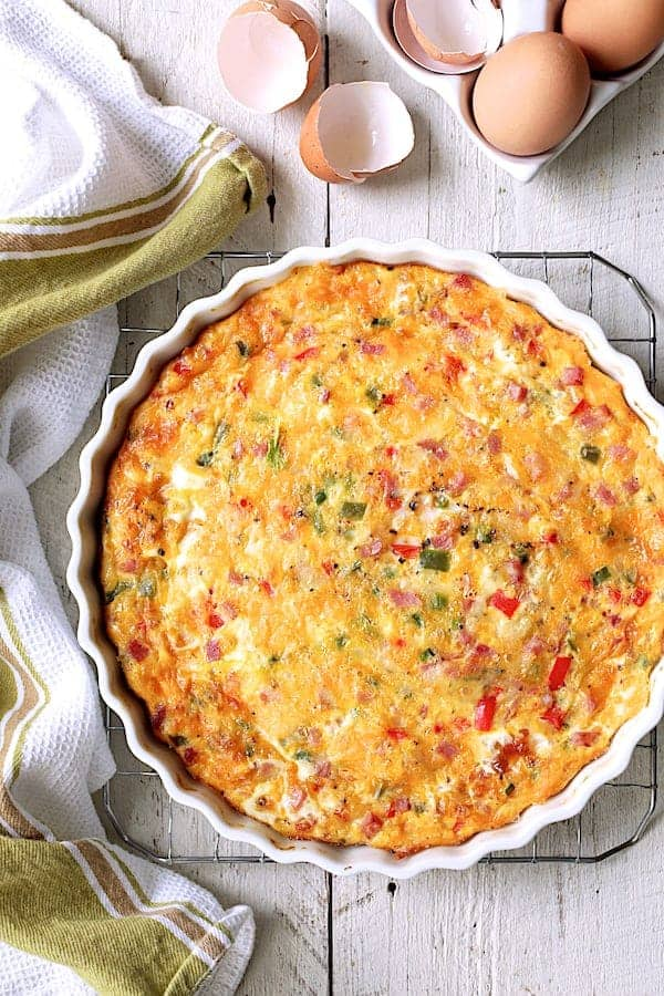 Spicy Baked Denver Omelet - Overhead close-up shot of quiche on cooling rack