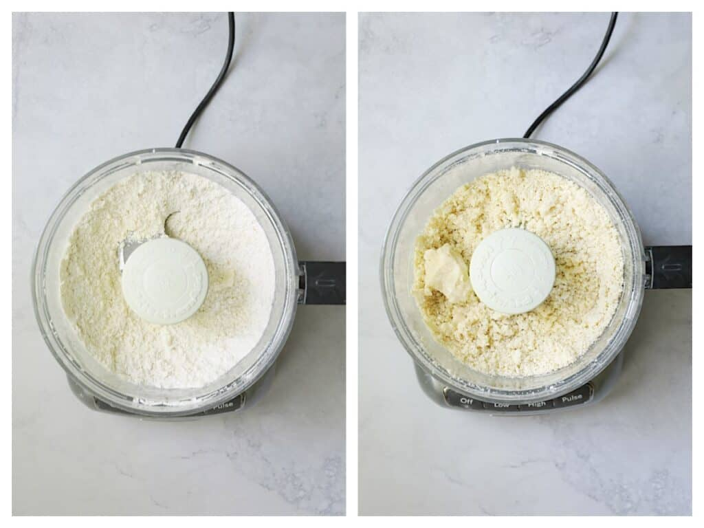 Collage of crust being prepared in food processor