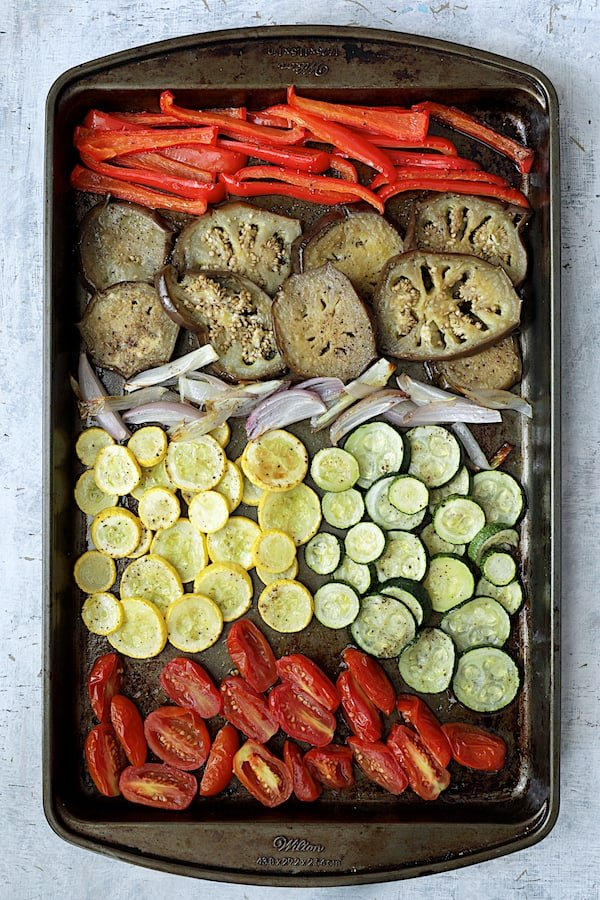 Overhead shot of roasted vegetables on baking sheet