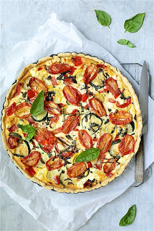 Provencal Vegetable and Goat Cheese Tart - Overhead shot of finished tart