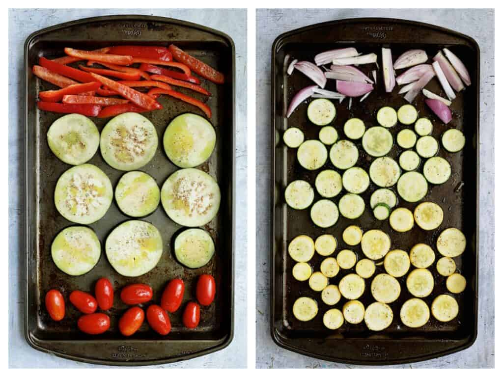 Overhead shot of vegetables on two baking sheets side-by-side