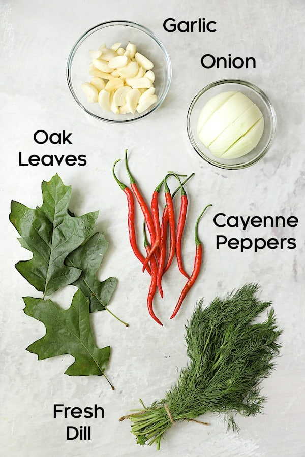 Photo of ingredients for pickled tomatoes.