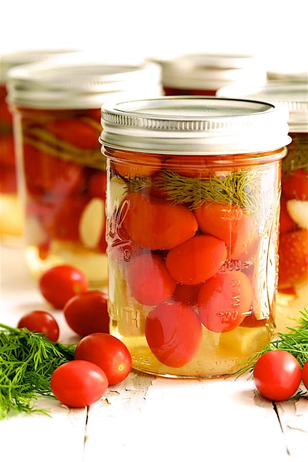 Pickled Grape Tomatoes - Straight-on shot of finished tomatoes