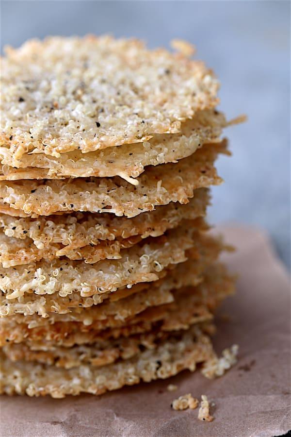 Quinoa Parmesan Crisps - Close-up shot of large stack of crisps