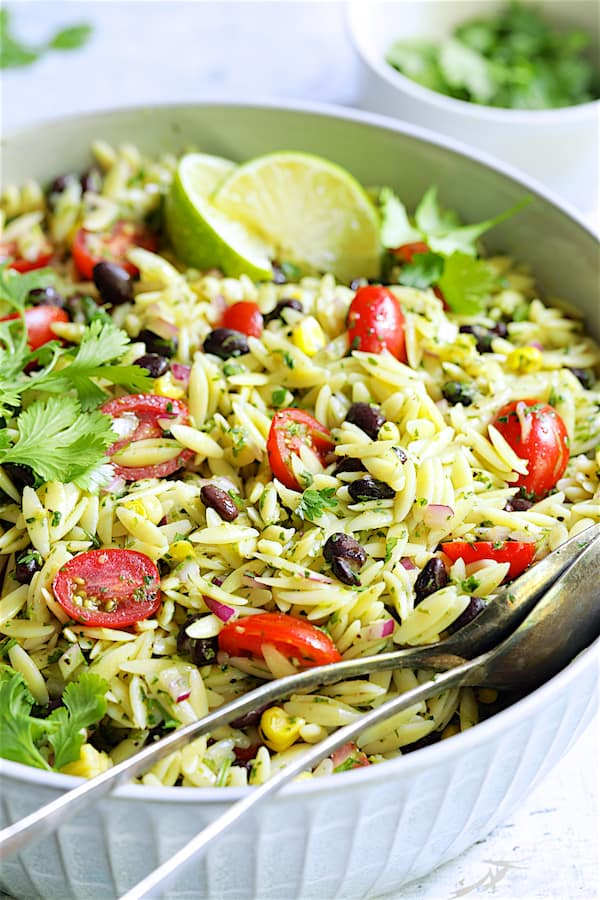 Southwestern Orzo Salad with Cilantro Lime Dressing - Close-up shot of salad in serving bowl