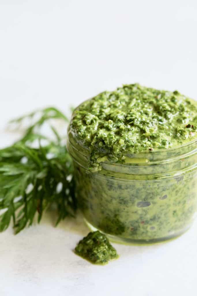 Carrot Top Salsa Verde - Close-up shot in glass jar