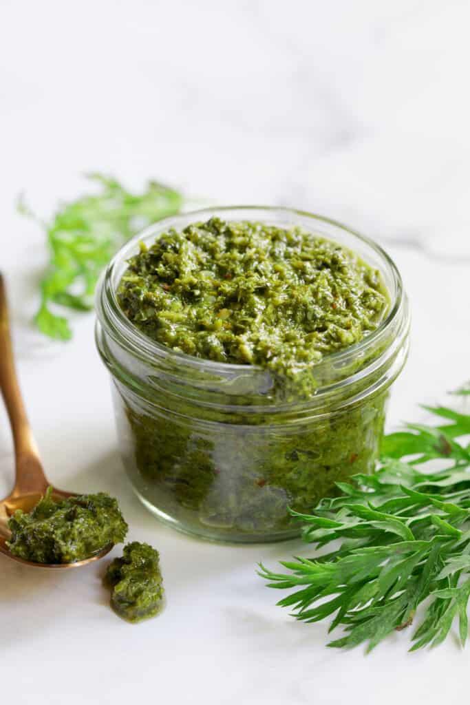 Carrot Top Salsa Verde - Hero shot in glass jar