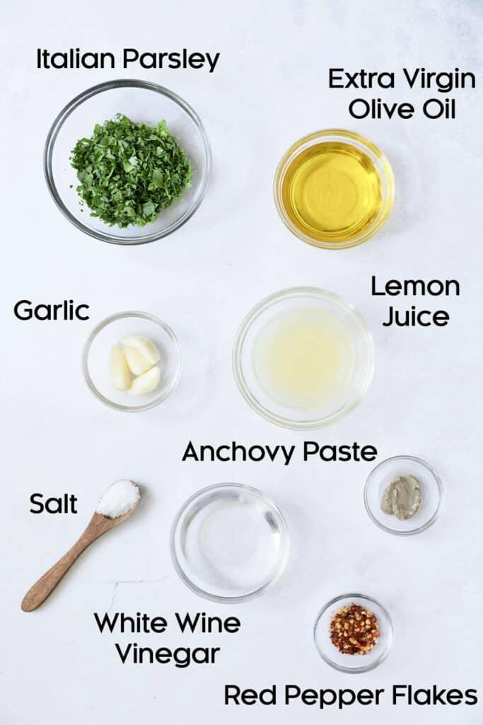 Overhead shot of ingredients for Carrot Top Salsa Verde