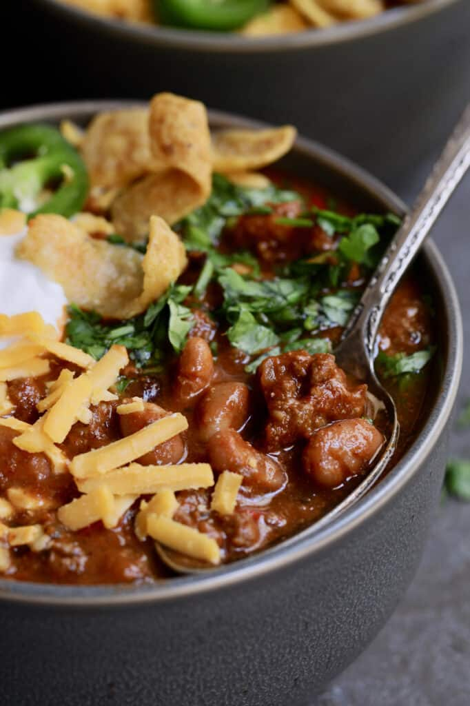 Chipotle Beef and Bean Chili - Straight-on close-up shot