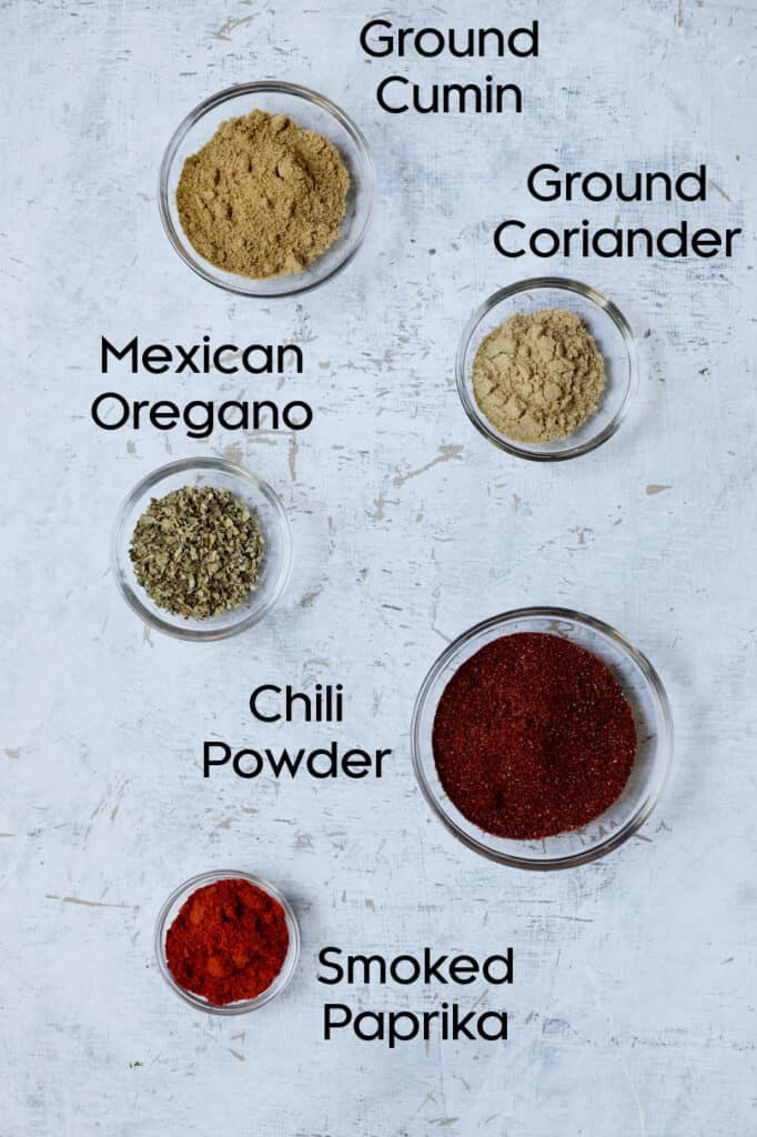 Overhead shot of spices for chili