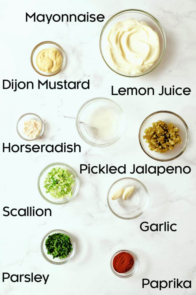 Photo of ingredients for Jalapeno Remoulade in glass bowls.