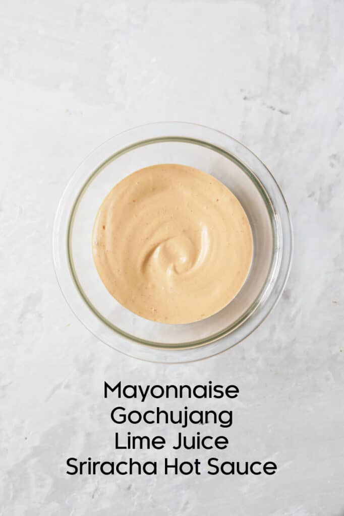 Overhead shot of Gochujang Mayonnaise in glass bowl