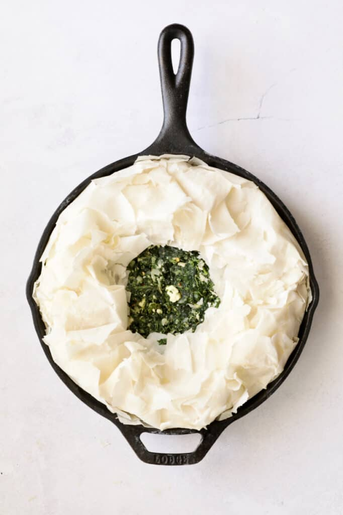 Photo of spanakopita before being baked.