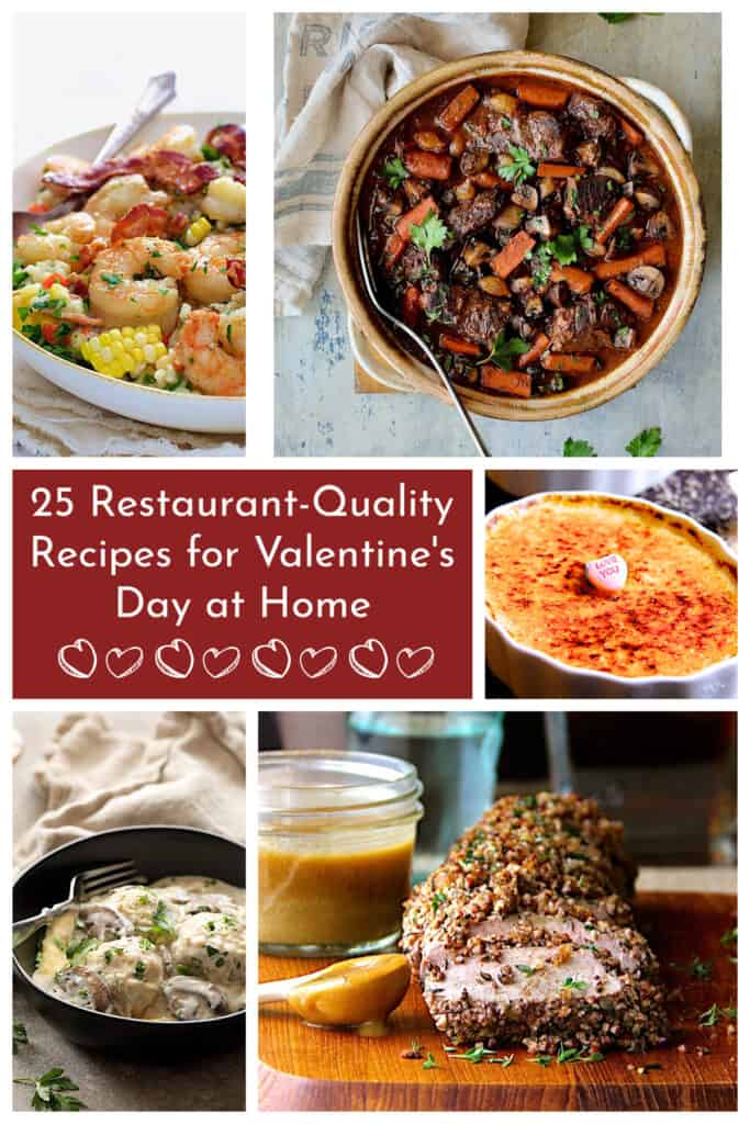 Photo collage for 25 Restaurant-Quality Recipes for Valentine's Day at Home