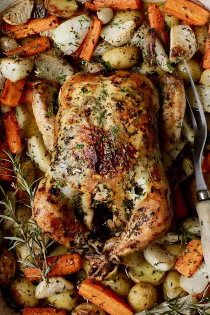 Close-up photo of Garlic Herb Butter Roast Chicken with Root Vegetables.