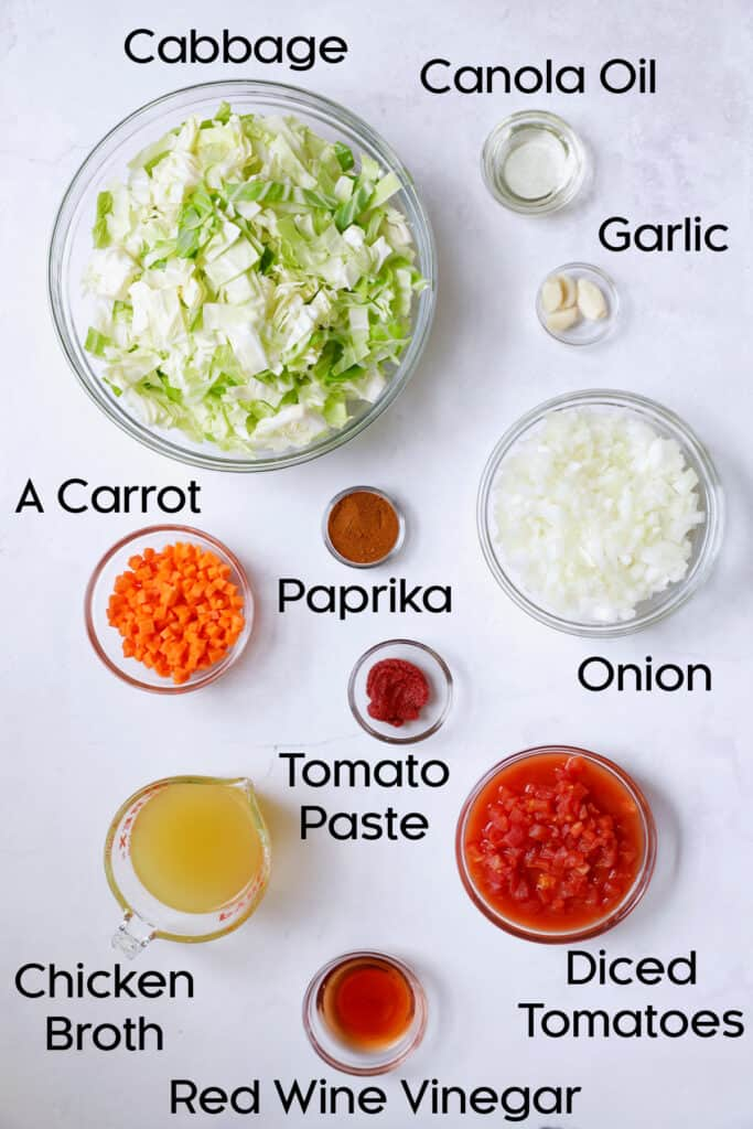Overhead shot of ingredients for stewed cabbage in glass bowls