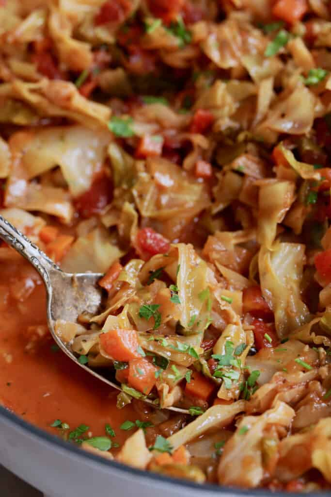 Polish Stewed Cabbage (Kapusta) - Close-up shot with spoon