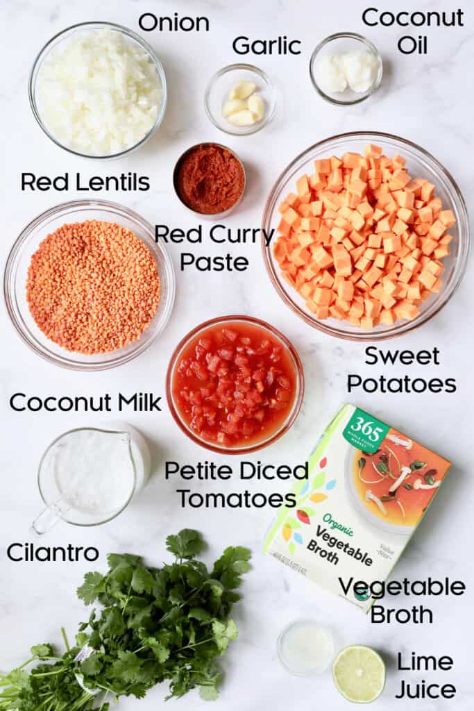 Photo of ingredients for Thai Red Curry Sweet Potato and Lentil Soup in glass bowls.