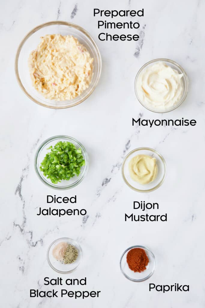 Photo of filling ingredients for Jalapeno Pimento Cheese Deviled Eggs.