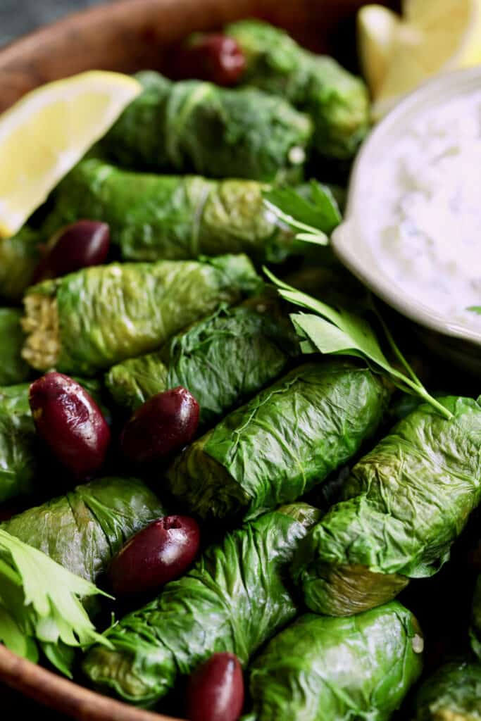 Close-up photo of Swiss Chard and Quinoa Dolmas with Tzatziki.