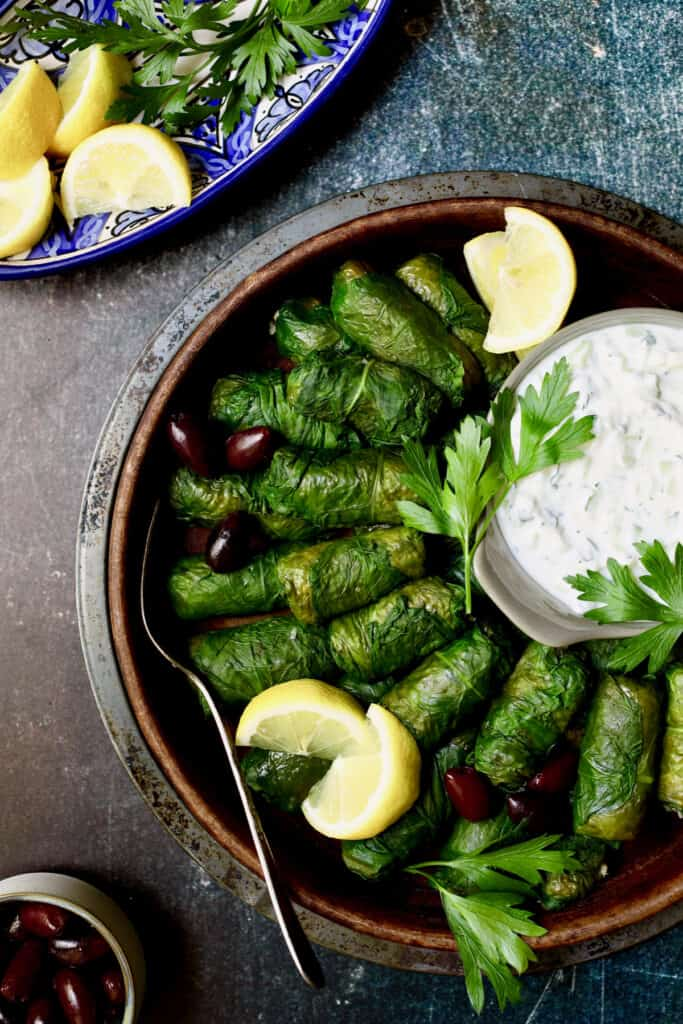 Photo of Swiss Chard and Quinoa Dolmas with Tzatziki.