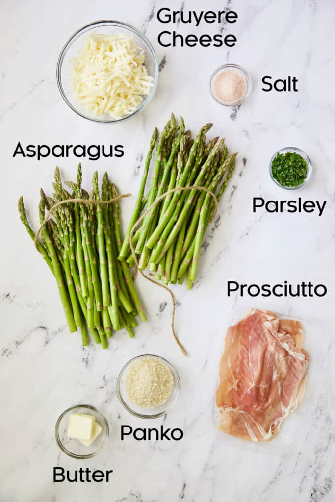Photo of ingredients for Asparagus Cordon Bleu in glass bowls.