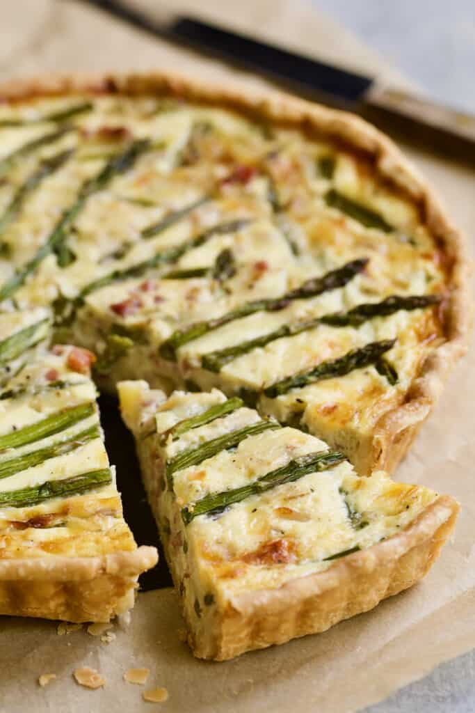 Photo of a piece of Asparagus Prosciutto and Fontina Tart.