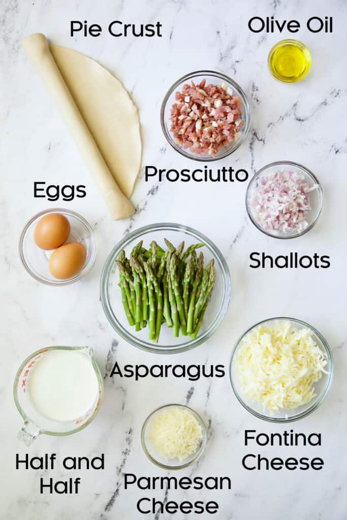 Photo of ingredients for Asparagus Prosciutto and Fontina Tart.