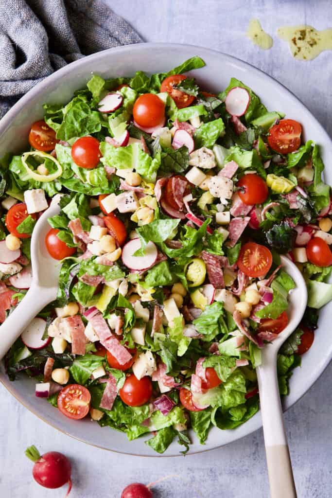Close-up photo of Italian Chopped Salad with Chicken.