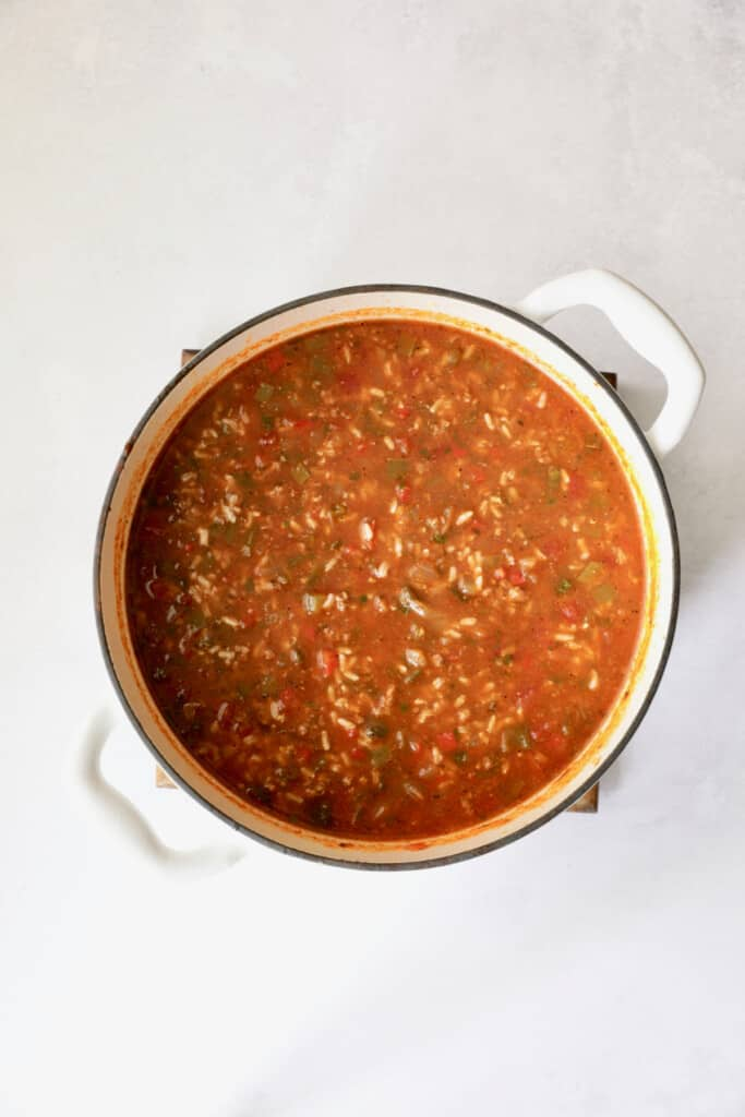 Photo of Southwestern Stuffed Pepper Soup in Dutch oven after being cooked.