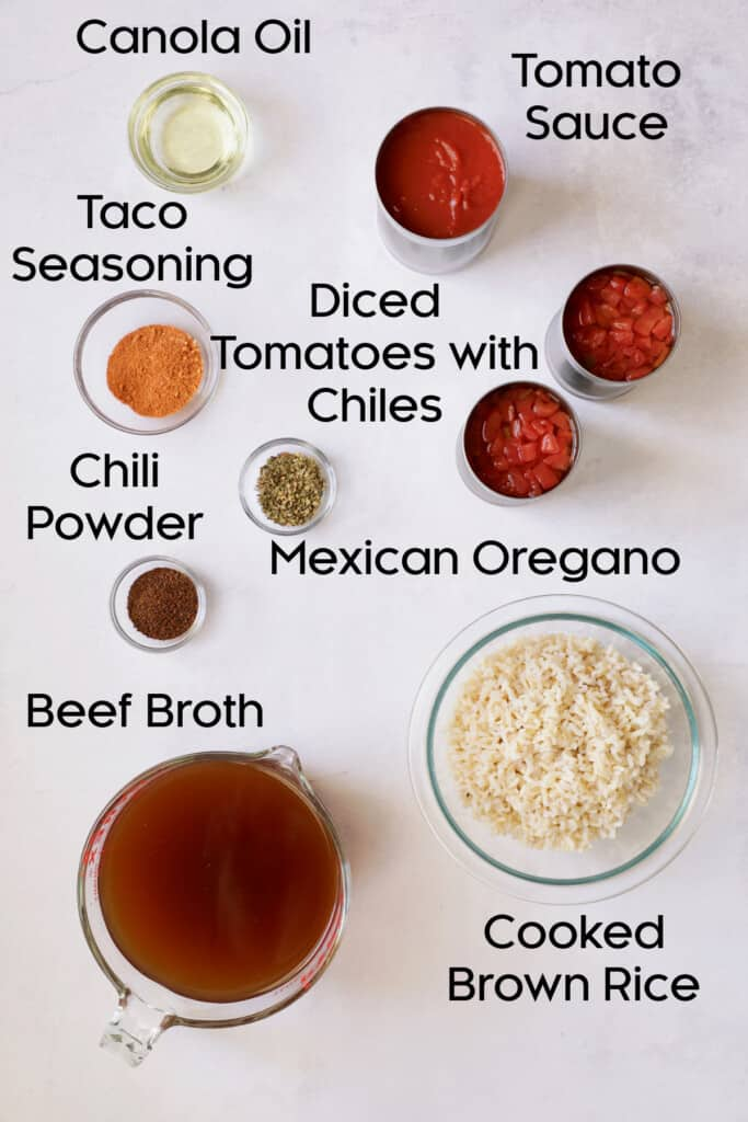 Photo of pantry ingredients for Southwestern Stuffed Pepper Soup.