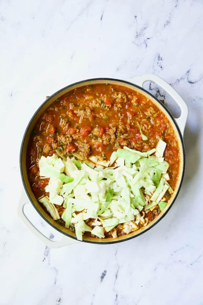 Photo of Unstuffed Chorizo Cabbage Roll Skillet with raw cabbage added.