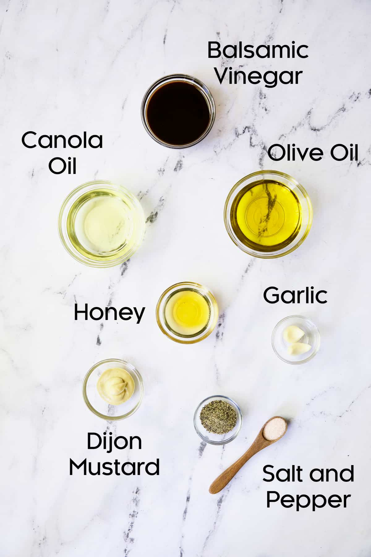 Ingredients for Honey - Balsamic Dressing in glass bowls.