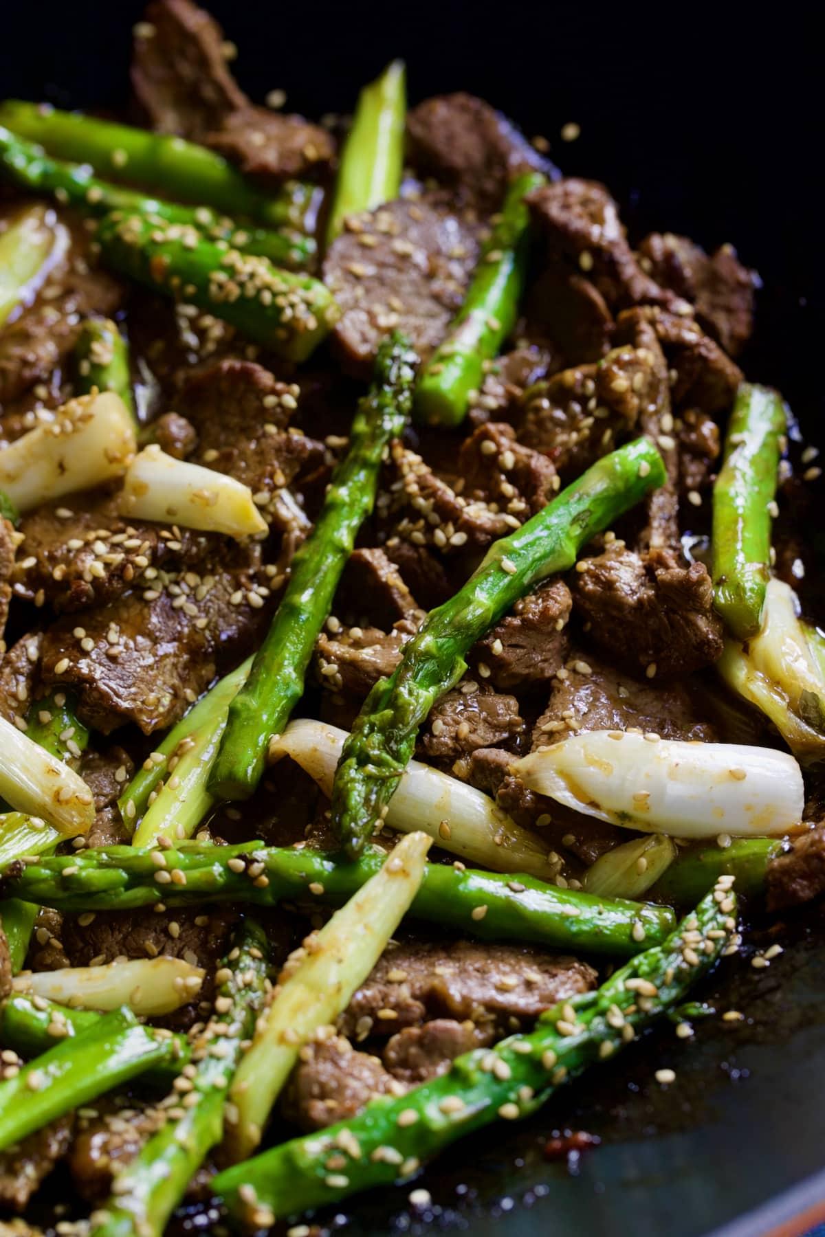 Close-up photo of Sesame Beef and Asparagus Stir-Fry.