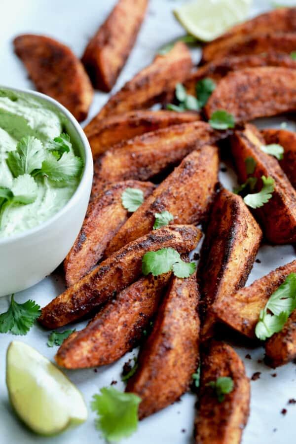 Close-up photo of Southwestern Sweet Potato Wedges.