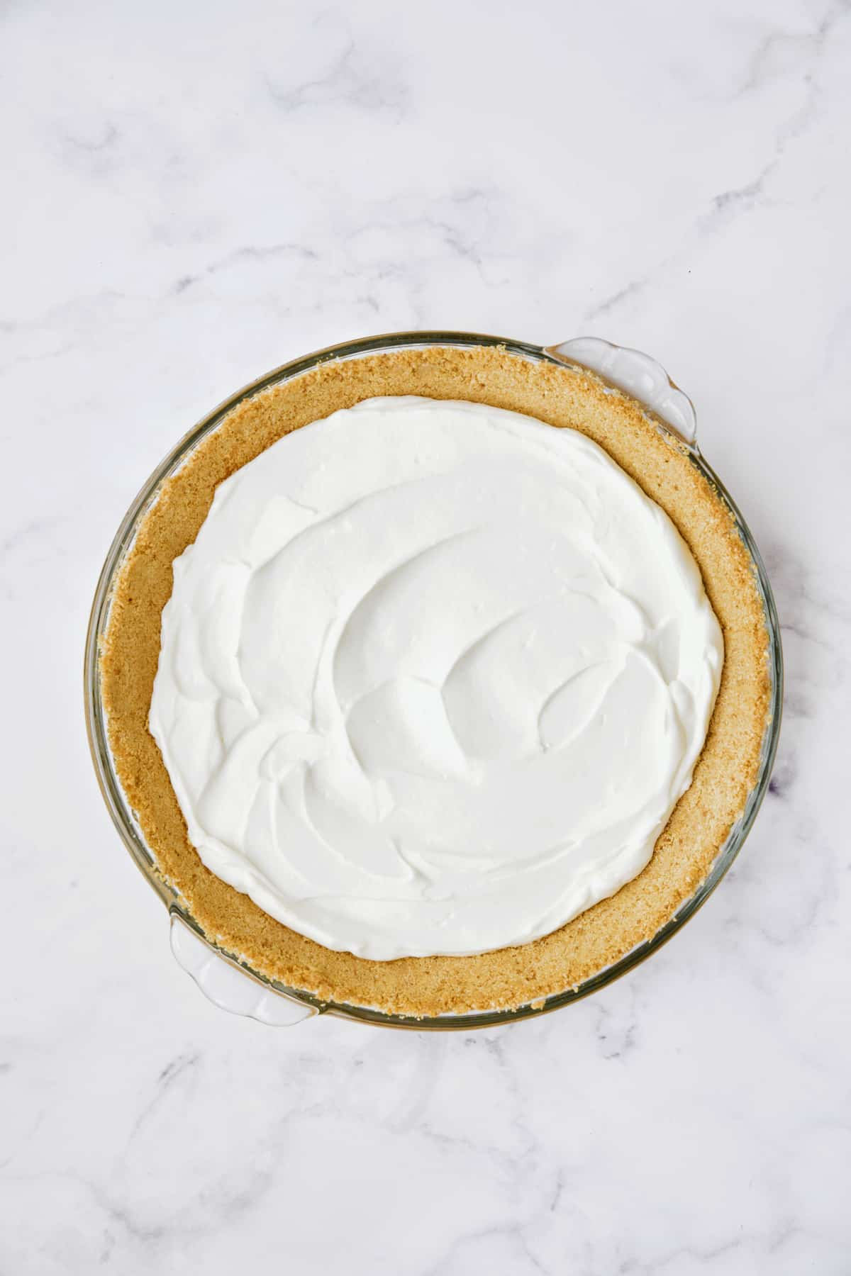 Photo of cream cheese layer for Blueberry Cream Cheese Pie.