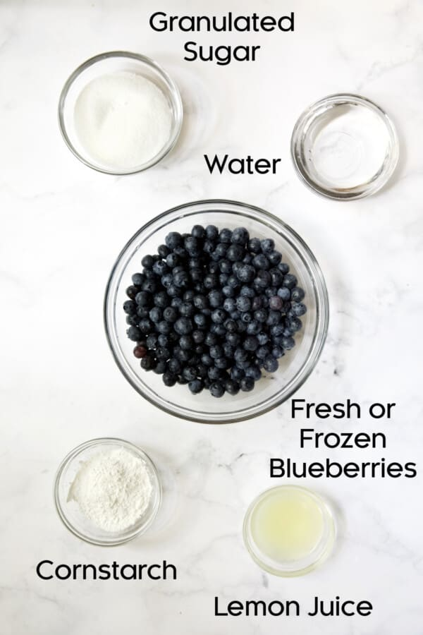 Photo of ingredients for Blueberry Cream Cheese Pie in glass bowls.