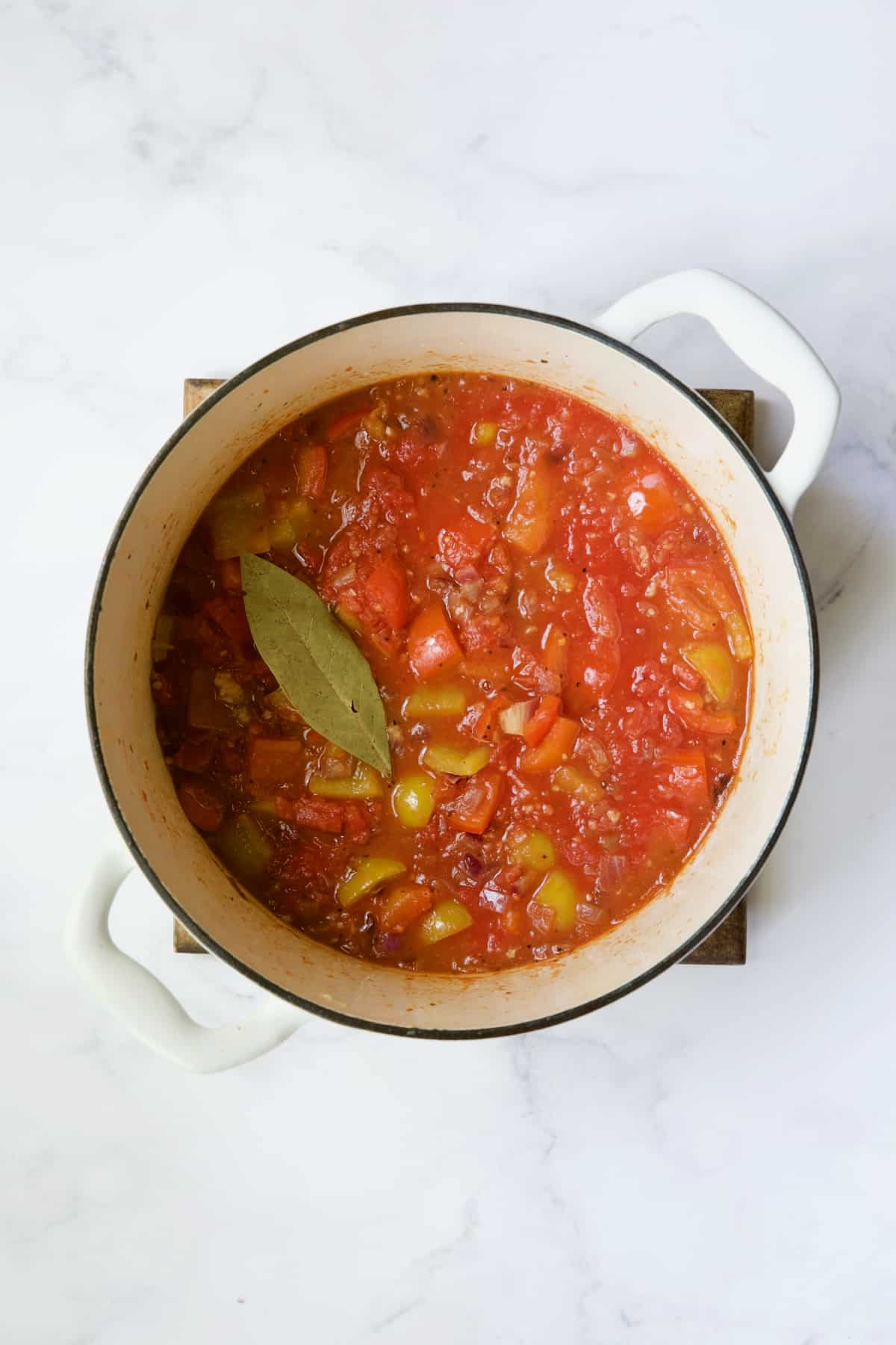 Process photo of ratatouille after being simmered.