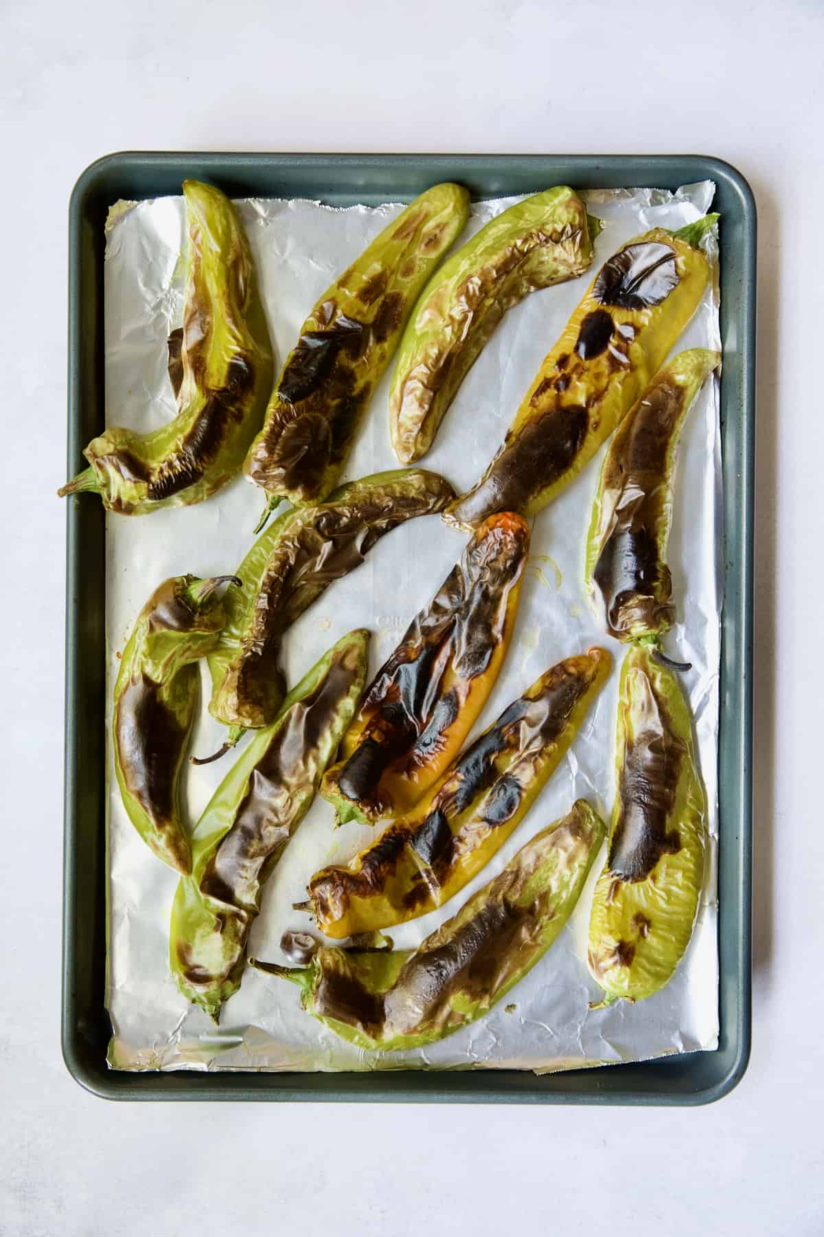 Fully roasted Hatch green chiles on rimmed sheet pan.