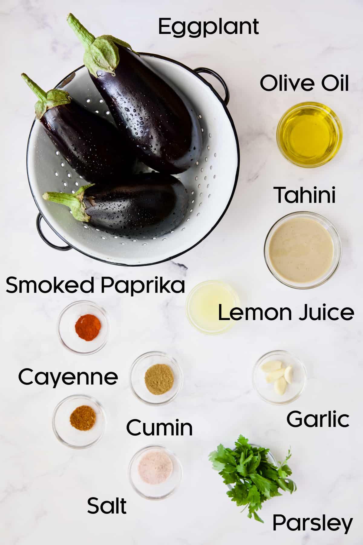 Ingredients for Loaded Roasted Eggplant Dip (Baba Ganoush).